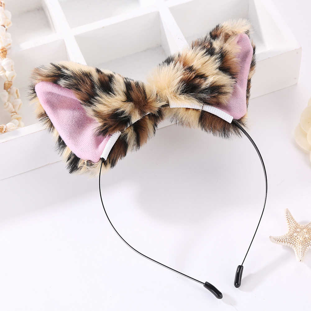 Meninas fofos de pelúcia raposa orelhas grande bowknot cabelo hoop hairband bandana cosplay festa headwear