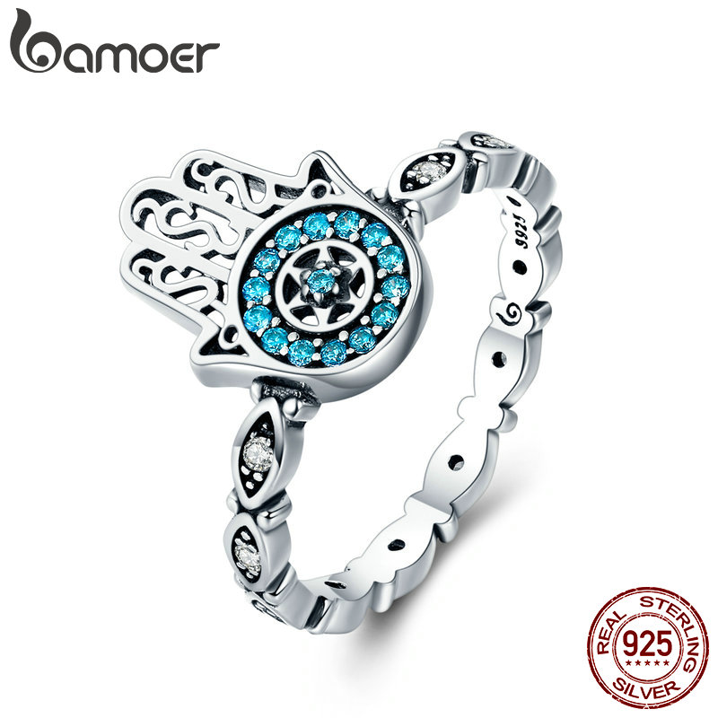 BAMOER Genuine 100% 925 Sterling Silver Fatima's Guarding Hand Blue CZ Eyes Finger Ring For Women Engagement Jewelry SCR369