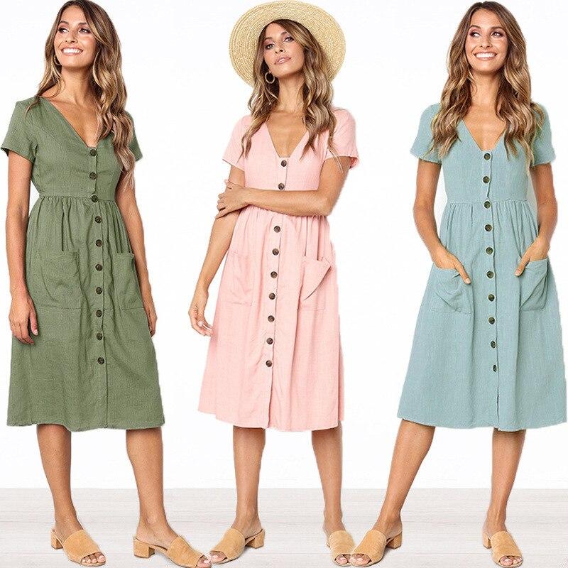 Summer Women Ladies V Neeck Cotton Blend Single Breasted Short Sleeve Pocket Solid Knee Length Solid Sweet Dress
