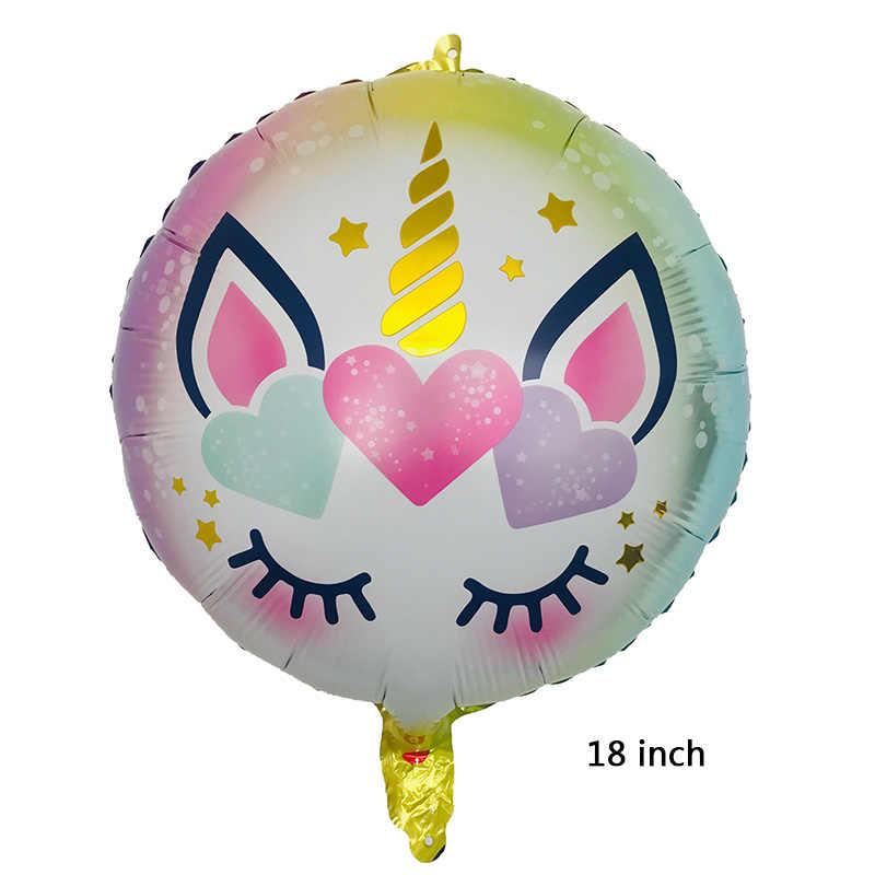 1PC 18 インチラウンドユニコーンバルーンアルミ箔ヘリウム風船ユニコーンパーティー結婚式誕生日装飾グロボス