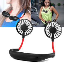 best selling 2019 products Rechargeable Portable USB Neckband Lazy Neck Hanging Style Dual Cooling Fan for wearable devices(China)