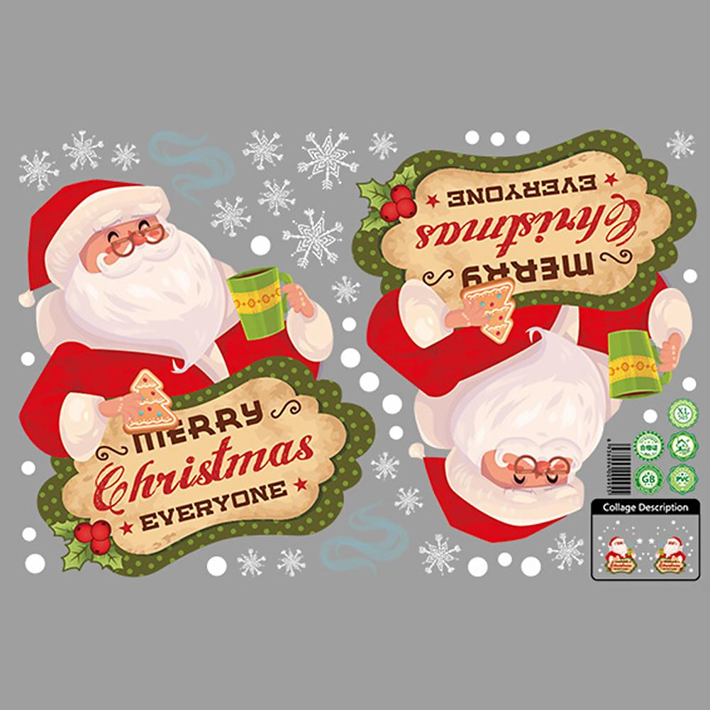 Xmas Wall Sticker Christmas Santa Snowman Garland Window Glass Decal DIY Door Decor