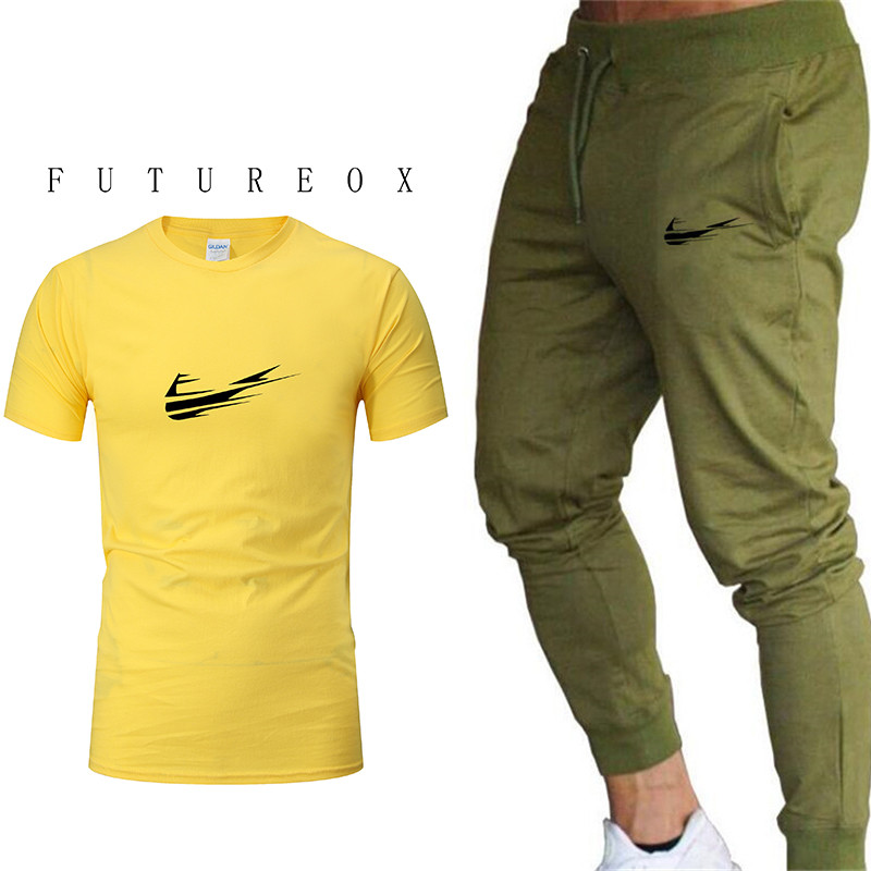 2019 Newest Fashion Men Two Pieces Sets T Shirts+Sweatpants Suit Men Tops Tees Fashion Tshirt High Quality Men Clothing M-2XL