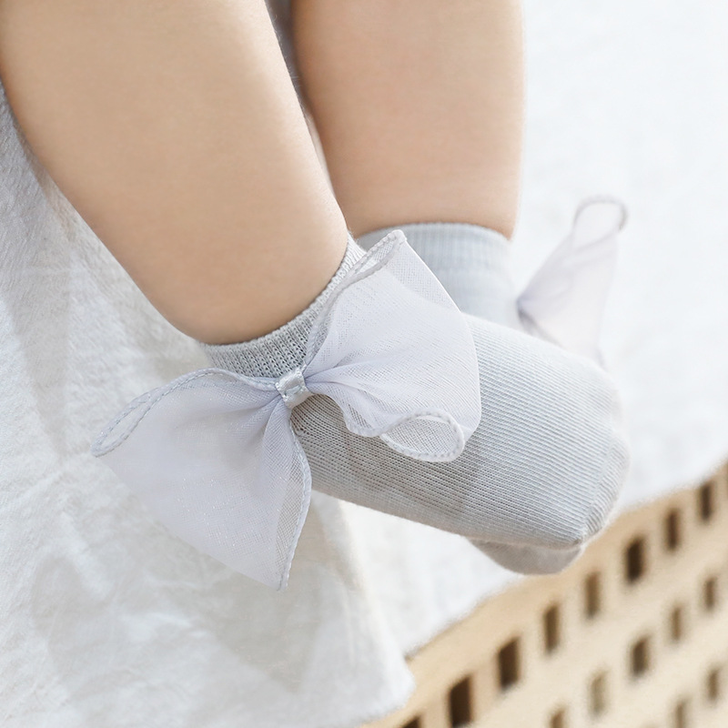 Infant Baby Socks Cute Wings/Bowknot/Ruffled Newborn Lace Anti-slip Floor Socks For Newborn Girls Boys Toddlers Princess Sock