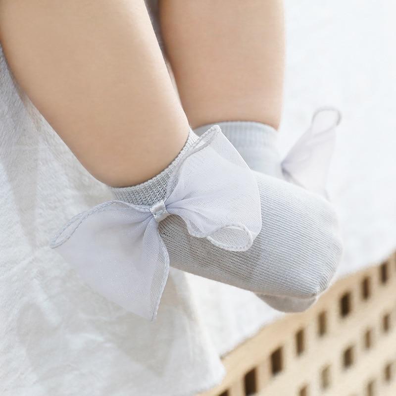 Infant Baby Socks Cute Wings/Bowknot/Ruffled Newborn Lace Anti-slip Floor Socks For Newborn Girls Boys Toddlers Princess Sock