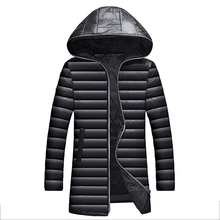 2019 New Clothing Down Winter Jackets Business Long Winter Coat Men Solid Fashion Overcoat Outerwear Warm 028 cheap JUNGLE ZONE STANDARD JUNGLE ZONE 028 REGULAR Casual Single Breasted Full Denim NONE Pockets Zippers Polyester White duck down