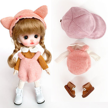 Ob11 baby clothes GSC baby shoes +long sleeve top+ back belt pants+cap BJD doll clothes suit doll accessories