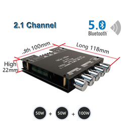 2*50W+100W Bluetooth 5.0 TPA3116D2 Power Subwoofer Amplifier Board 2.1 Channel Class D TPA3116 Audio Stereo Equalizer Amp