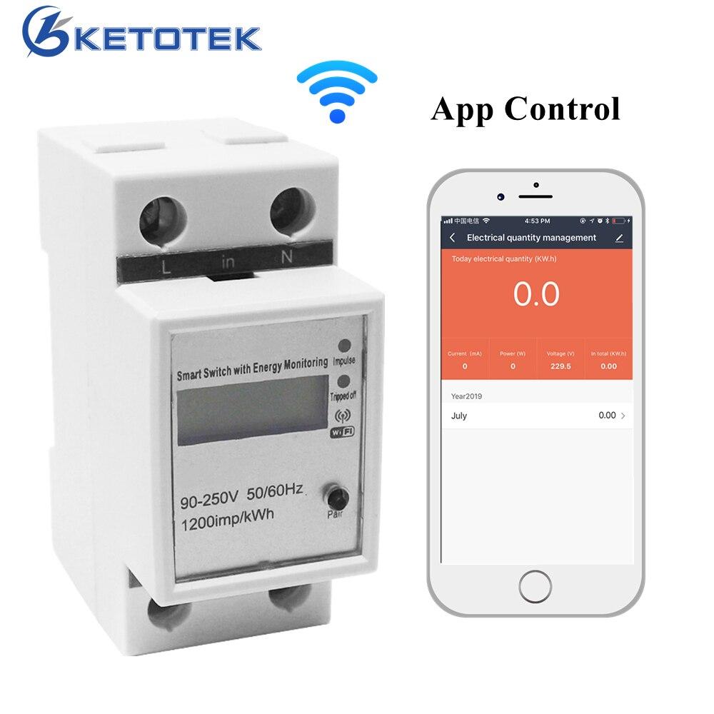 Compteur d'énergie intelligent WiFi monophasé DIN-rail App wattmètre analyseur de consommation d'énergie compteur de courant de tension 220V 50Hz
