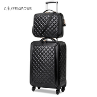 Chupermore high quality PU Leather Rolling Luggage sets Spinner Women Brand password Suitcase Wheels 20 inch Cabin Trolley
