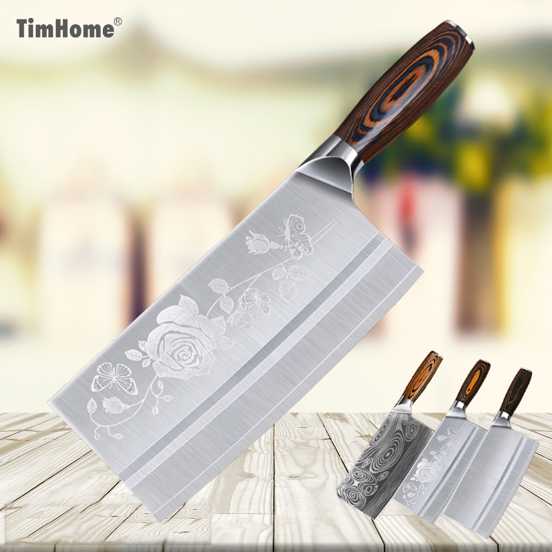 Timhome 8 inch Stainless Steel Professional Chef Meat Cleaver Chinese Knife Butcher Chopper Vegetable Cutter Kitchen