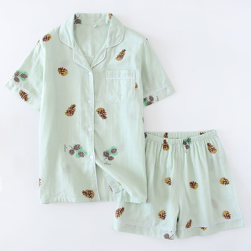 Japanese Simple Short Pyjamas Women 100% Cotton Short Sleeves Ladies Pajama Sets Shorts Cute Cartoon Sleepwear Women Homewear