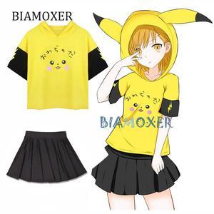 2pcs/set Pokemon Pikachu Cosplay Costume Casual Short Sleeve Hooded Pikachu Hoodies Pikachu Pullover Hoodie And Short Skirt