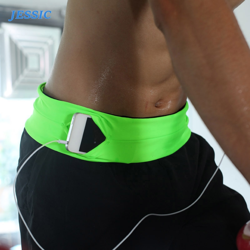 JESSIC Professional Running Waist Bag Men Women Gym Sports Bag Trail Invisible Mobile Phone Money Belt Waist Pack