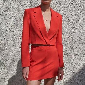 Ladies Red Crop Skirt-Suits