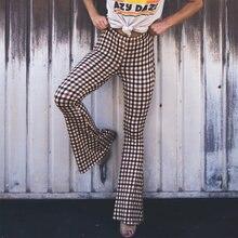 Verão retro xadrez impressão alargamento calças primavera de cintura alta mulheres harajuku calças pantalon moda casual magro calças compridas streetwear