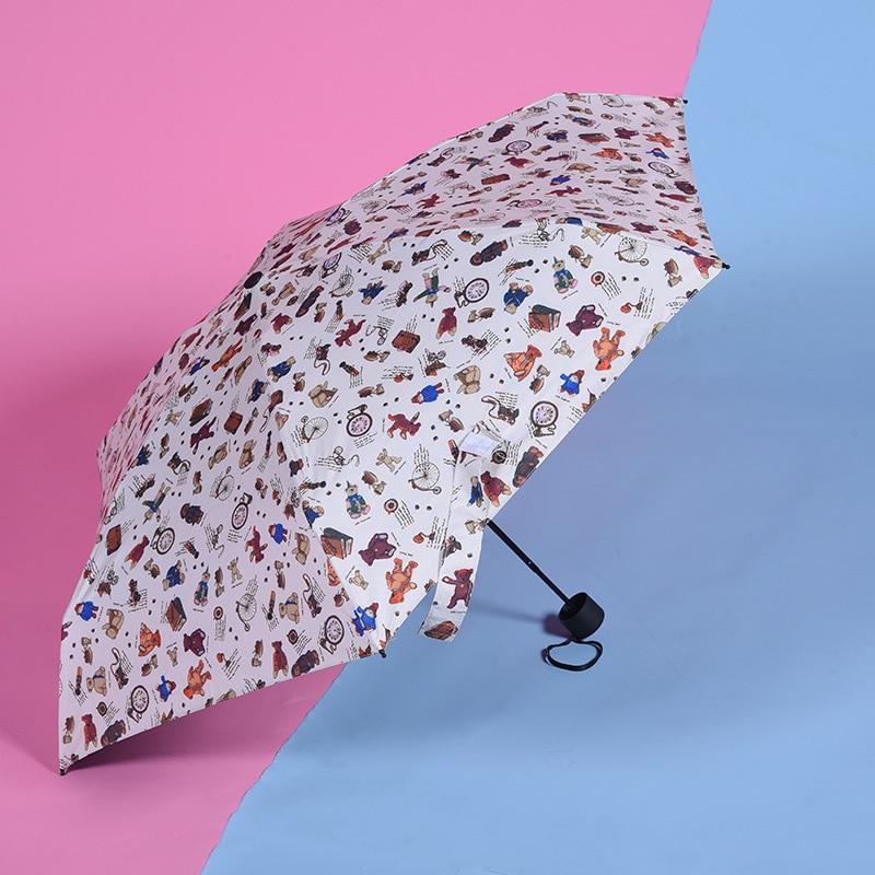 Foreign Trade Five-fold Umbrella Creative Printed Parasol Vinyl College Style Folding Umbrella Customizable Logo Outdoor All-Wea