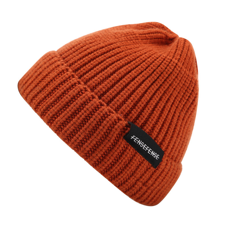 Orange Wool Knit Handmade Women Beanie New Hat Warm Winter Hats Gifts For Her Wife Casual Letter Caps Skullies For Women And Men