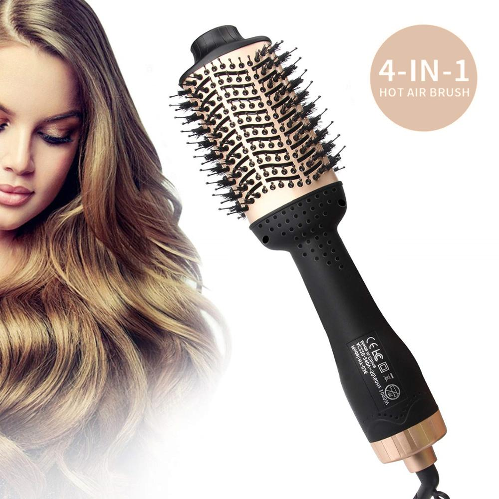 2020 Hair curler brush straightener and curling iron 2 in 1 one step hot air negative Ions dryer smooth salon rollers