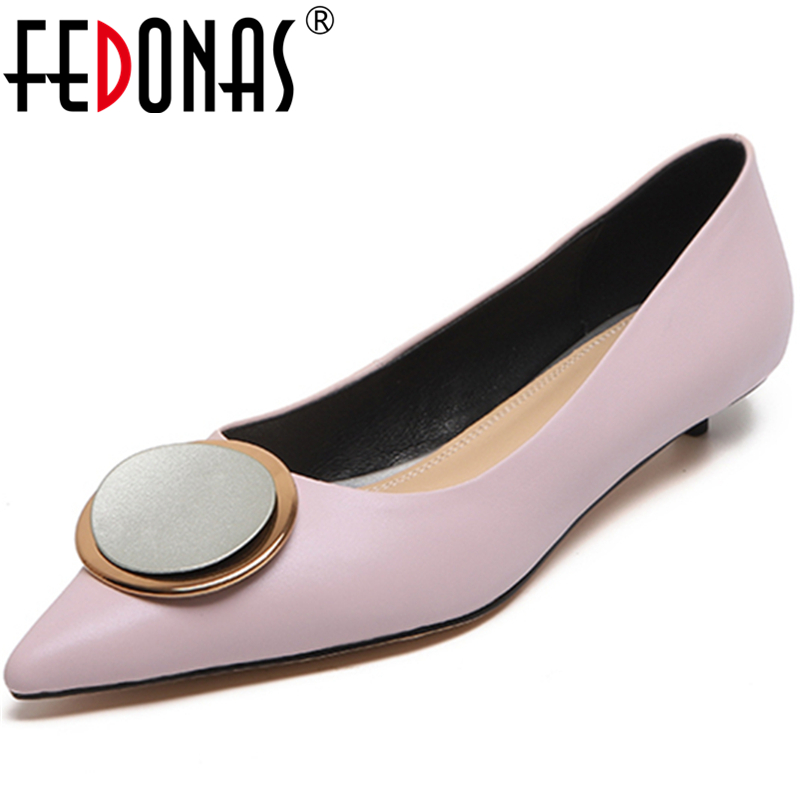 FEDONAS New Women Cow Leather Concise Wedding Casual Shoes Metal Decoration Pointed Toe Thin Heel Shallow Slip-On Shoes Woman