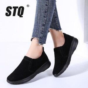 Image 1 - STQ jesień kobiety mieszkania buty damskie Slip on kobieta mokasyny oksfordzie buty do chodzenia Tenis Feminino mieszkania Sneakers buty 0731