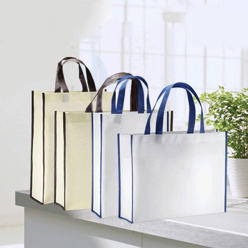 Non-woven Fabric Foldable Shopping Bag Unisex Resuable Bag White Beige Tote Bag Handbag Fashion Female Shoulder Bag Wholesale