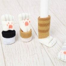 Leg-Covers Chair Foot-Socks Table Furniture Floor-Protectors Non-Slip 4pcs Cat Paw