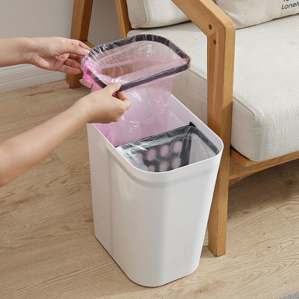 Lager Kapazität 15L Kunststoff Mülleimer Badezimmer Büro Abfall Bin Mülleimer Dosen Müll Eimer Müll Tasche Dispenser J30