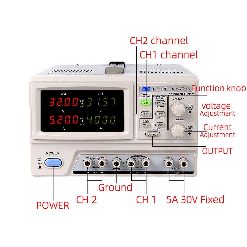 30V 5A Adjustable Digital Programmable Linear DC Power Supply with Dual LED Display