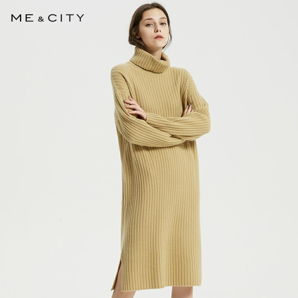 Me&City Dress Women'S Spring Winter New Arrival Casual Elegant Fashion Dress High Collar Side Slit Wool Knit Dress