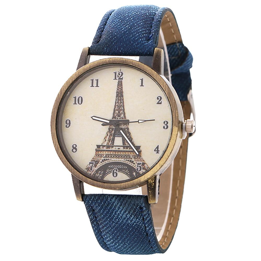 luxury designer Eiffel tower-patterned women's watch bronze vintage denim band  watches women fashion watch 2018