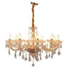 Honhill Modern Crystal Chandelier Light 10 Arms Gold And Clear Chandelier Lamp Candle Pendant Lamp E12 (Ship From US)