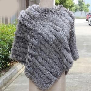 Image 5 - Women Genuine Real fur shawl Knitted Rabbit Fur Poncho Wrap scarves female natural rabbit fur Shawl triangle Cape pashmina