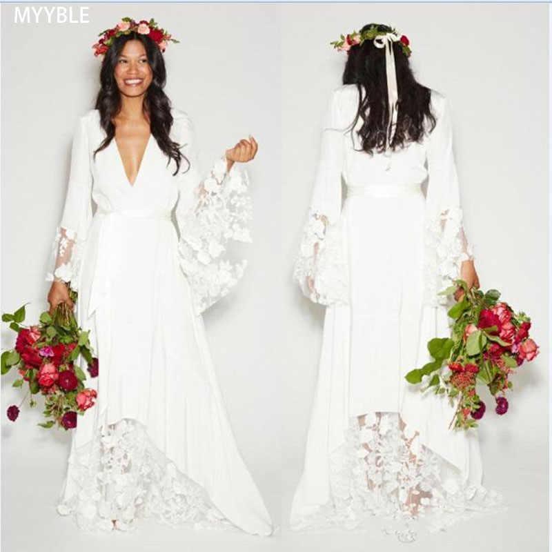 V Neck 2020 Beach Boho Wedding Dresses Bohemian Hippie Style Deep