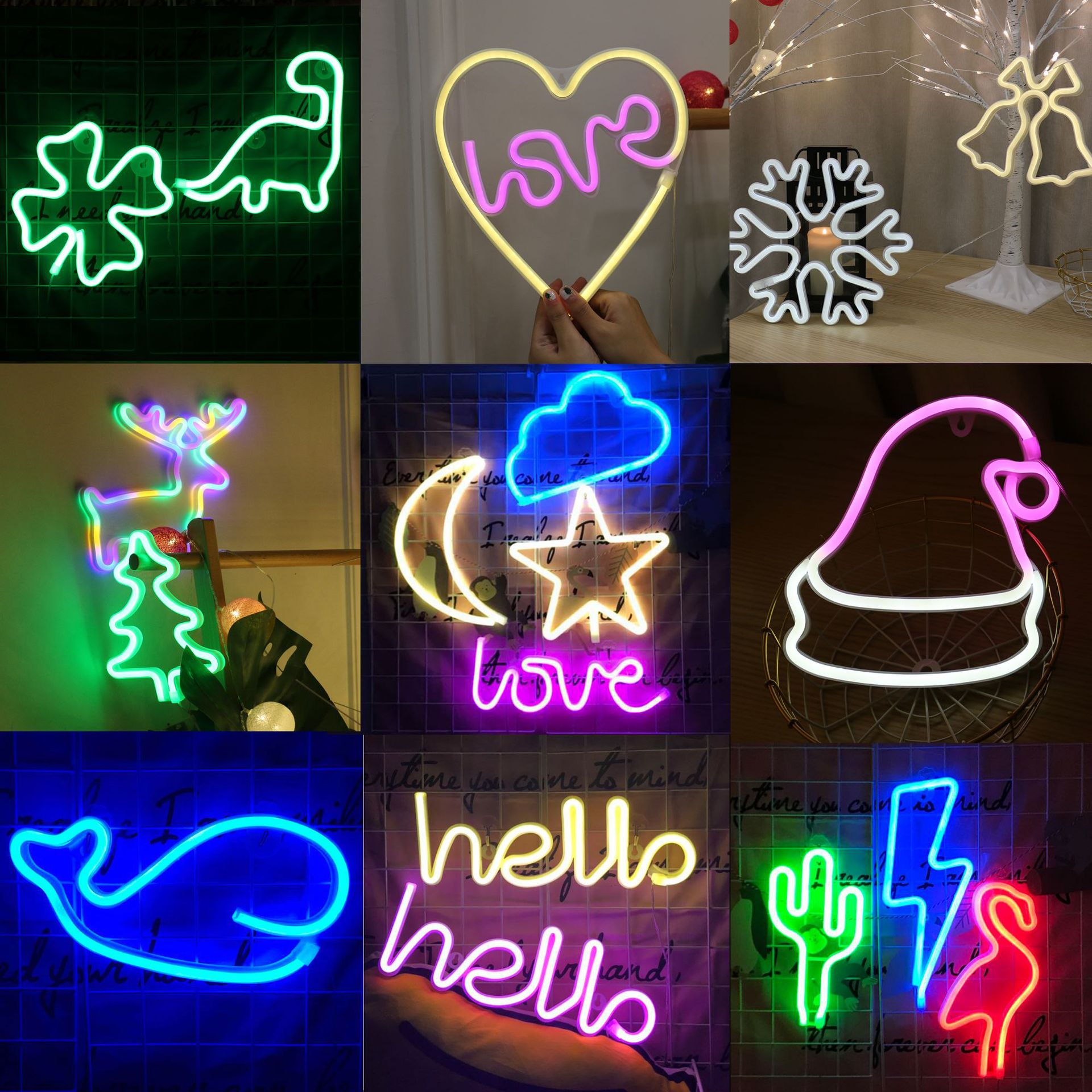 Colorful LED Neon Light Sign Wall Decor Lamp for Xmas Birthday Wedding Party Kids Room Living Room Wall Hanging Decor Lighting image