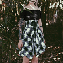 Imily Bela Vintage Plaid Bandage A-line Mini Dress Gothic Slash Neck Off Shoulder Short Sleeve Spaghetti Strap Irregular Dress imily bela gothic spaghetti strap dress women sleeveless halter high waist backless black draped a line mini dress vestidos