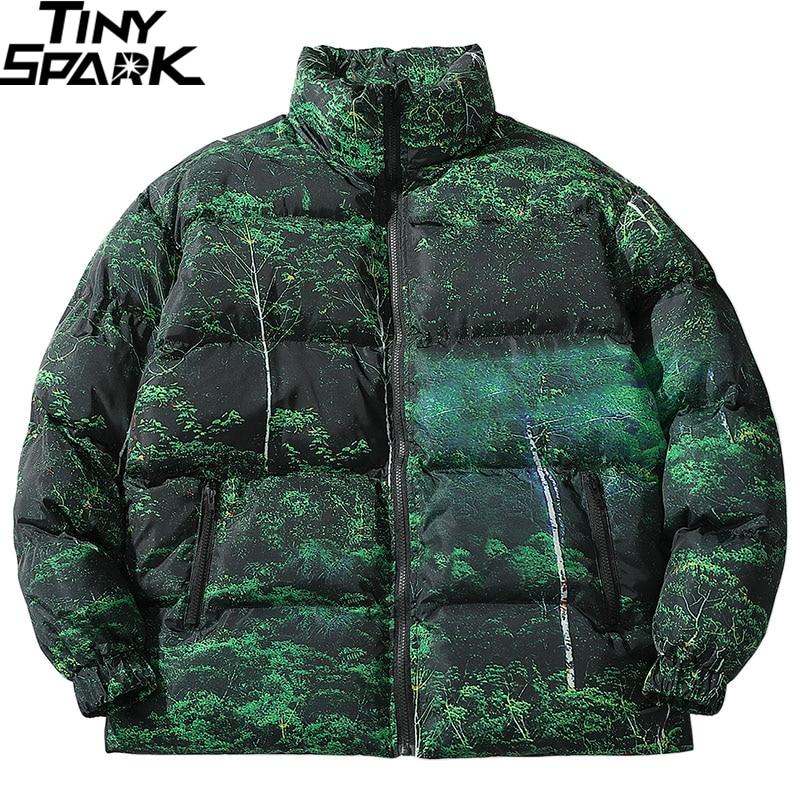 2019 Hip Hop Jacket Parka Real Tree Camouflage Streetwear Men Windbreaker Harajuku Winter Padded Jacket Coat Warm Outwear Zipper