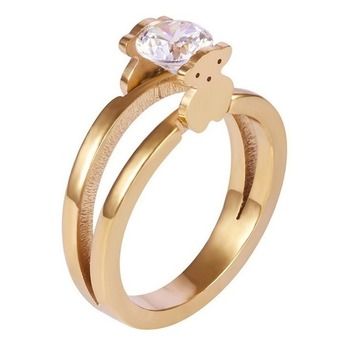 New Fashion High Quality Metal Ring Jewelry Double-sided Bear Dating Ring Jewelry Female Wedding Ring 1