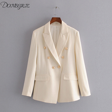2020 New Spiring Ladies casual jacket suit female autumn double-breasted white l