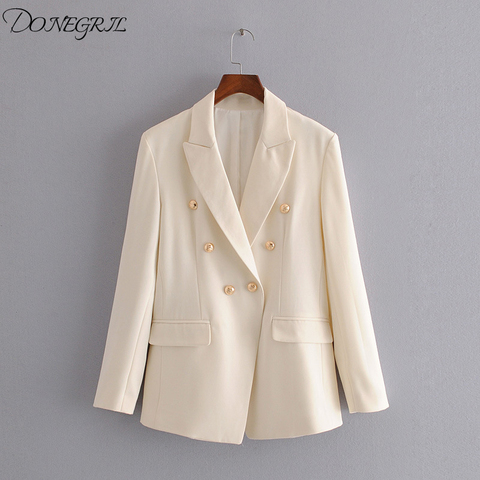 2020 New Spiring Ladies casual  jacket suit female autumn double-breasted white long womens blazer Office suit Blazers Pakistan