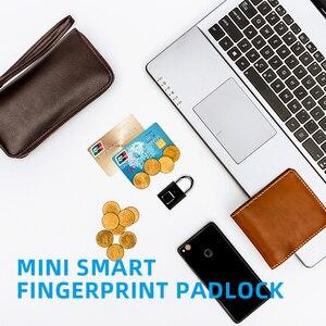 Image 5 - Akıllı parmak izi kilidi USB şarj edilebilir parmak izi asma kilit hızlı kilidini çinko alaşım Metal kendinden geliştirme çip kapı bagaj