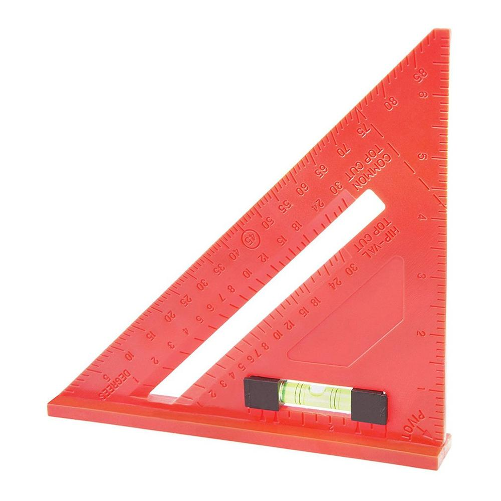 7 Inch Precision Triangle Ruler Multi-Function Right Angle Ruler Woodworking 45 Degree 90 Degree Tool With Level Hand Tool