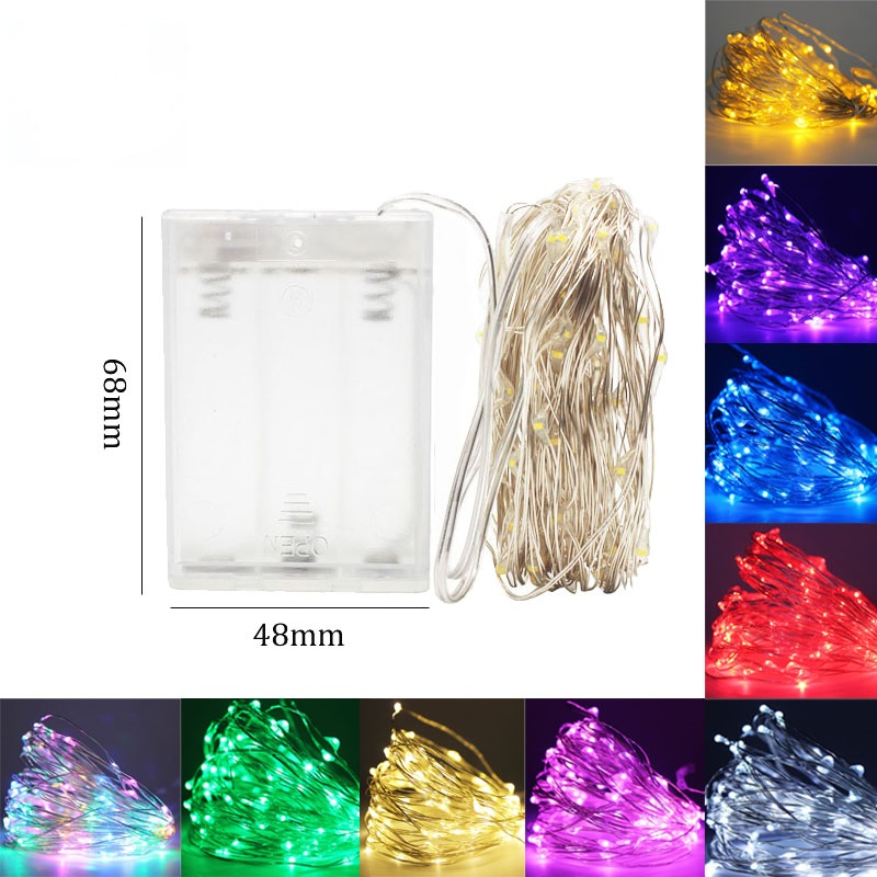 Battery LED String Lights 10M 5M 2M Silver Wire Garland Home Christmas Wedding Party Decoration 4.5V Battery Outdoor Fairy Light