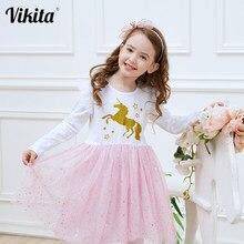 Детское платье-пачка с сеткой для девочки VIKITA, нарядное платье с единорогом, одежда для ребенка дошкольного