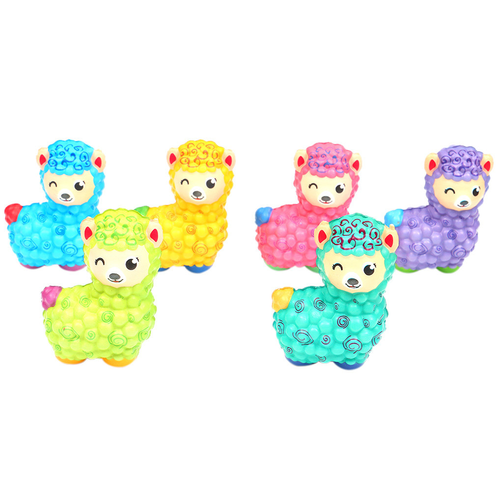 Jumbo Sheep  Cute Squishy Slow Rising Soft Squeeze Toy Strap Scented Relieve Stress Funny Kid Xmas Gift 6Pcs Set  L103