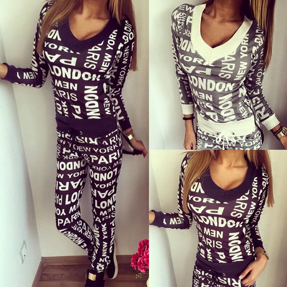 Currently Available 2018 Hot Selling New Style WOMEN'S Dress Fashion Casual Sports Printed Letter Long Sleeve V-neck Hoodie WOME