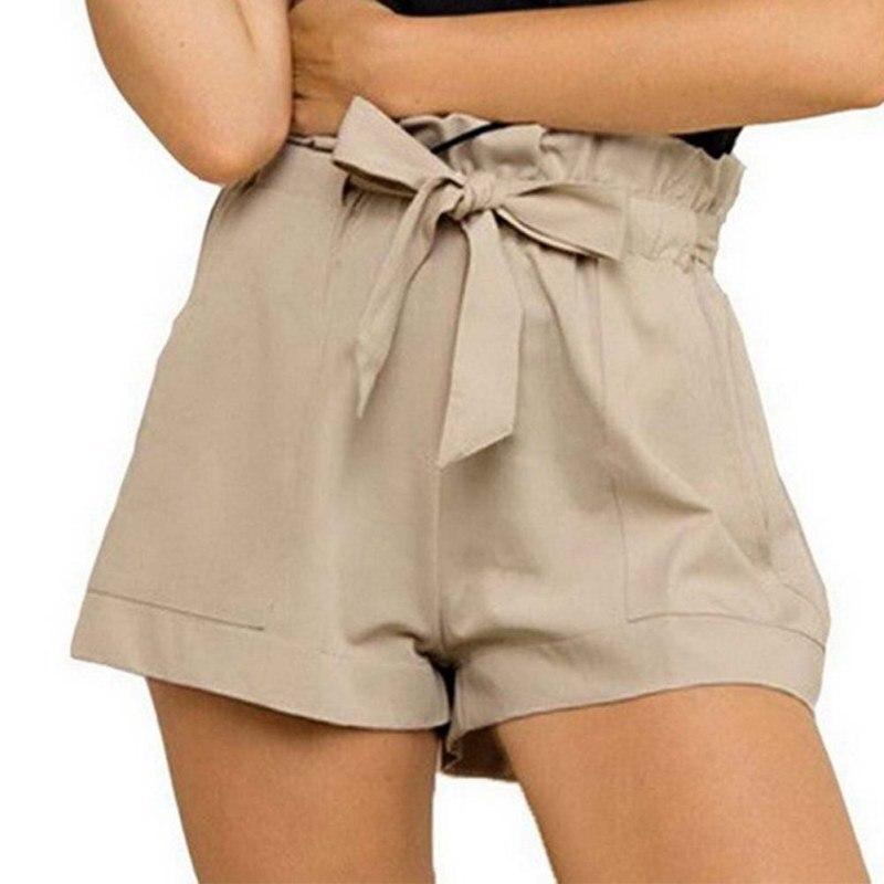 Fashion Bow Sashes Ruffled Side Womens Bow Belt Short Hot Short High Waist Black White Khaki Women Skirt Shorts   Summer