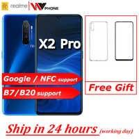 Realme X2 pro X 2 telefon komórkowy Snapdragon 855 plus 64MP Quad Camera 6.5 ''pełnoekranowy telefon komórkowy NFC OPPO VOOC 50W super ładowarka