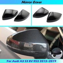 Für Audi A3 S3 8V RS3 2013 2014 2015 2016 2017 2018 2019 Rückspiegel Fall Abdeckung Carbon fiber muster oder Schwarz Abdeckung