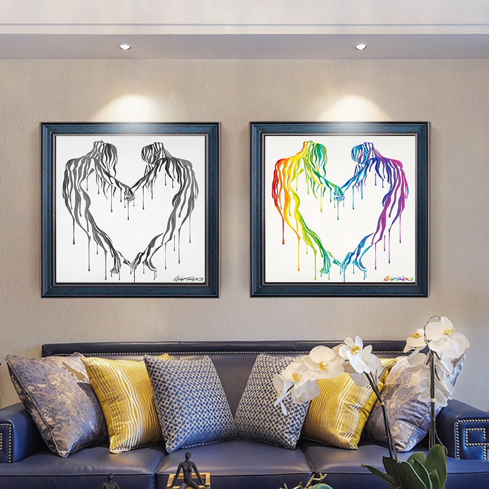 Скандинавский стиль любовь постер черно белый холст картина